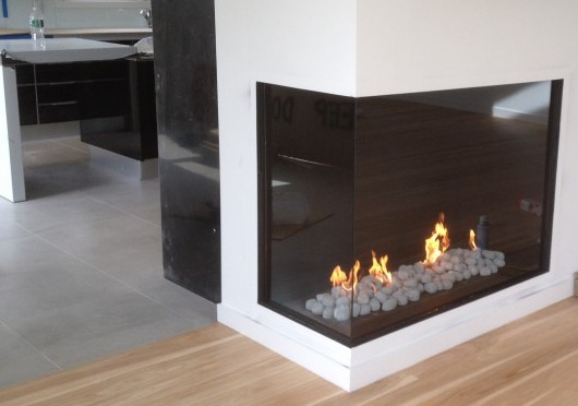 Custom Corner Fiamma Fireplace Long Island Ny