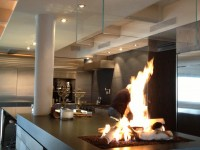 Fiamma Kitchen Fire Feature NYC Gas Firepit with Glass vent hood